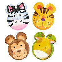 1x Pack of 8 Jungle / Safari Themed Children's Paper Party Plates.