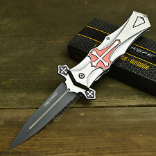 "Tac Force 9"" Celtic Cross Spring Assisted Open Tactical Dagger Folding Knife"