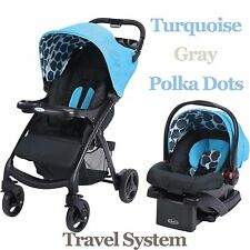 Graco Infant Stroller Lift Car Seat Travel System Baby Polka Dots Turquoise New