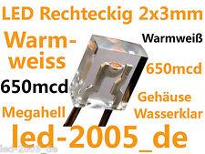 20 x LED Rechteckig 2x3x4mm Warmweiß,650mcd,MEGAHELL,LED Rechteckig Warmweiss