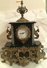 Marble/bronze mantle Clock,French style,with  windows