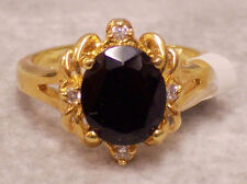 14K Gold Plated Black Onyx Ring Size 11 w/ 4 Small Cubic Zirconia Stones NEW