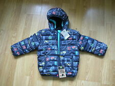NEXT PADDED CAR MULTI NAVY BLUE JACKET BOYS COAT HOODED 1 1/2 TO 2 YEARS