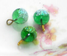 #1113Z Vintage Beads Glass Drops Dangles Emerald Round Art Deco Green Sugar