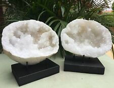 """5""""-7"""" Large Natural Geode Pair With Stands Crystal Geode Specimen Moroccan Geode"""