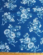 Floral Beach Retreat Fabric 33in Remnant Cotton Quilt Sew Blue White Marcus