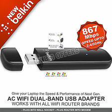 Belkin AC Wi-Fi Dual Band USB Adapter Speed up-to 1150Mbps 2.4/5 GHz F9L1106