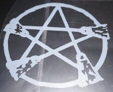 Window Sticker Vinyl decal Wiccan Pagan Frosted Glass witch broom pentagram