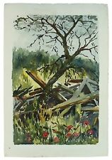 Old Wood Poppies Signed Unframed Landscape Watercolour Painting M Harrison Retro