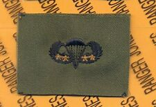 US Army Airborne Parachutist wing 4 Combat Jumps OD Green & Black cloth patch
