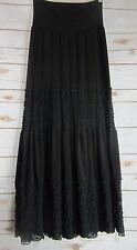 LINDA LUNDSTROM Womens Black Boho Prairie Tiered Skirt Size 6  Lace Stretchy S
