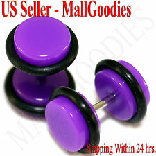 2033 Purple Violet Fake Cheater Illusion Faux Ear Plugs 16G Bar 0G = 8mm - 2pcs