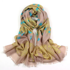 100% Pure Wool Woman's Pashmina Scarf Soft Wrap Grey with Blue Swans Print