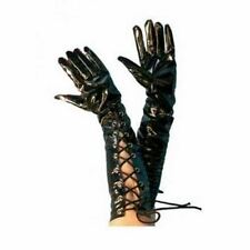 "black gloves pvc look vinyl laces 20"" fancy dress"