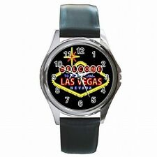 Las Vegas Strip Famous Gambling Sign Gambler Leather Watch New!