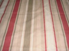 LAURA ASHLEY AWNING STRIPE RASPBERRY / LICHEN FABRIC COTTON / LINEN 3.9 METRES