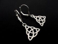 A PAIR OF CUTE LITTLE TIBETAN SILVER CELTIC KNOT LEVERBACK HOOK EARRINGS. NEW.
