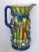 Antique Sandford Pottery Pitcher-English-1860-Blue Majolica-Military Figures-10""