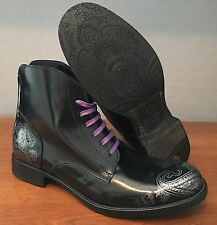 Robert Graham Leeds Italian Leather Black/Silver Paisley Boot Men 12 MSRP $440