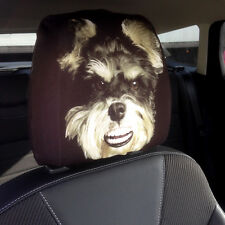 CAR SEAT HEAD REST COVERS 2 PACK SMILING SCHNAUZER DOG DESIGN MADE IN YORKSHIRE