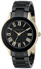 Anne Klein Women's Black Dial Black and Gold Tone Bracelet Watch AK/1948BKGB