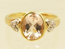 BEZEL-SET MADAGASCAN PINK MORGANITE & DIAMONDS 9CT GOLD RING ONE ONLY STUNNING