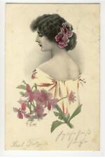AK R. Löwe, Frau mit Blumen im Haar, Jugendstil, 1904