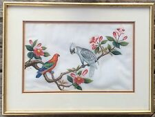 Pair Chinese Paintings Exotic Birds Pith Rice Paper Circa 1850