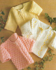 """Baby Coats Knitting Pattern 14-18"""" three designs and premature size DK 405"""