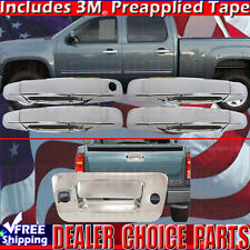 2007-2013 SILVERADO SIERRA 1500 Chrome Door Handle Tailgate COVERS 4DR W/Bowl In