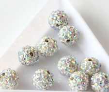 New 20pcs Czech Crystal Rhinestones Pave Clay Round Disco Ball Spacer Bead 8mm