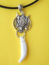 "WOLF Necklace & White Real Coyote Tooth & Wolf Charm Choker 18""-20"" Cord NEW!"