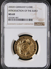 Germany 2002-D Introduction of The Euro 1/2oz Gold Coin NGC MS69