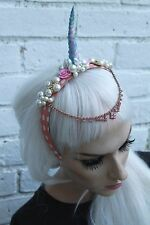 UNICORN HORN PINK BEADED FLOWER CROWN HEAD BAND HEADBAND FESTIVAL FAIRY
