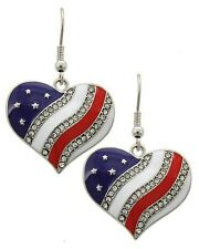 PATRIOTIC 4TH OF JULY RED WHITE & BLUE DANGLE HEART RHINESTONE ACCENT EARRINGS
