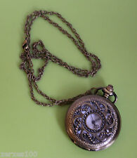 Steampunk half hunter bead pocket watch on necklace chain Xmas gift UK SELLER
