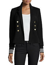 HOT Smythe College Pique Striped Removable Cuff Black Blazer Jacket $600+tax!
