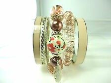 GORGEOUS CREAM PINK MIXED MULTI- BANGLE /BRACELET SET CUTE CHARMING BRIGHT (CL2)