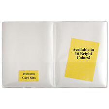 Plastic 2-Pocket Folders- Clear Overlay-10-Pack- R900_-10