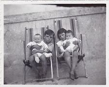 Antique Snapshot Photograph - Boy And Girl Sitting In Deckchairs, Holding Babies