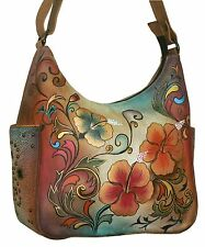 Anuschka Hand Painted Leather Hobo with Side Pockets in Henna Floral Retired