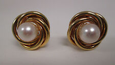Estate Jewelry 14k Yellow Gold Knot Earrings with 8mm White Pearl Center