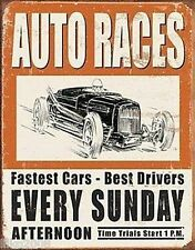 AUTO RACES EVERY SUNDAY; ANTIQUE-STYLE METAL WALL SIGN 40X30CM HOT ROD RACING