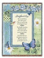 INSPIRATIONAL DAUGHTER IN LAW BLESSING TAPESTRY THROW AFGHAN BLANKET 54x70