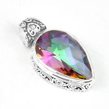 Unique Huge Square Rainbow Fire Topaz Gemstone Antique Silver Necklace Pendant