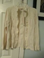 May & Pole beige creme ivory button down top shirt size medium new with tags
