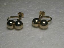 Vintage Double Gold Ball Screw Back  Earrings, 1970-1980's, 7.5mm