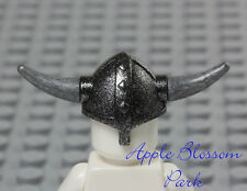 NEW Lego Castle Minifig BLACK VIKING HELMET Hat w/Silver Gray Spike Weapon Horns