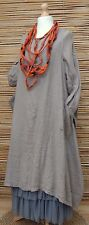 LAGENLOOK  OVERSIZED  LINEN BEAUTIFUL 2 PCS DRESS+OVERTOP*MOCHA* BUST UP TO 50""