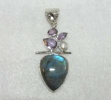 Labradorite, Amethyst, and Fresh Water Pearl  Sterling Silver Pendant